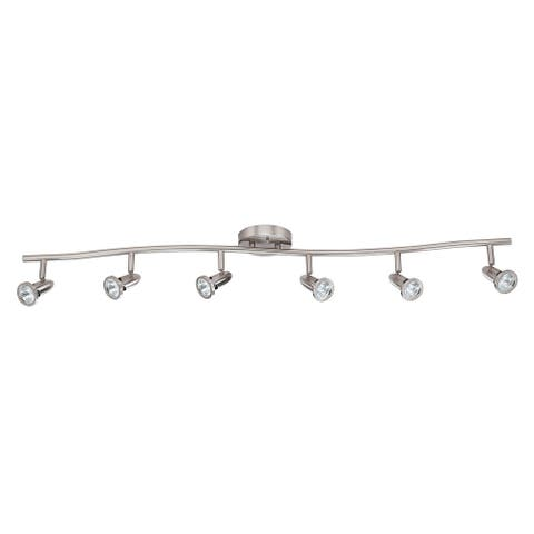 Sunset Lighting Track Lighting Ceiling Fixture Directional Light with 6 Adjustable Heads Bright Satin Nickel Finish