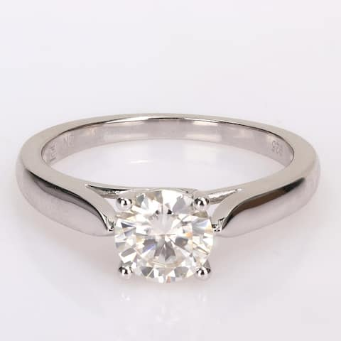 Miadora 1ct TGW Moissanite Solitaire Sterling Silver Engagement Ring