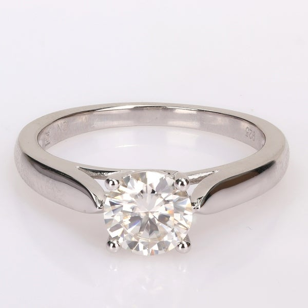 Miadora 1ct TGW Moissanite Solitaire Sterling Silver Engagement Ring. Opens flyout.