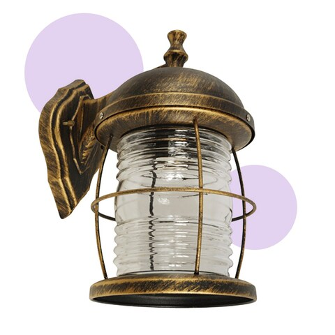 eTopLighting Golden Black Outdoor Exterior Light Fixture - Wall Lantern