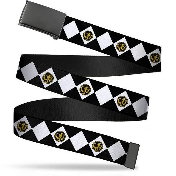 Blank Black Buckle Diamond Black Ranger Webbing Web Belt