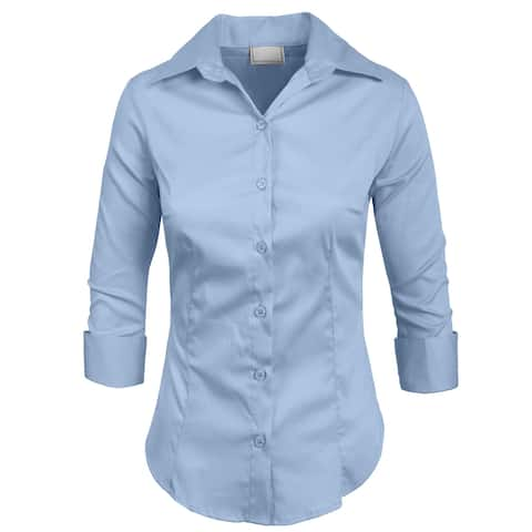 0b888fc3 NE PEOPLE Roll Up 3/4 Sleeve Button Down Shirt with Stretch [NEWT01]