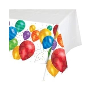 "Pack of 6 Balloon Blast Multicolor Birthday Party Tablecloth with Border Print 54"" x 102"""