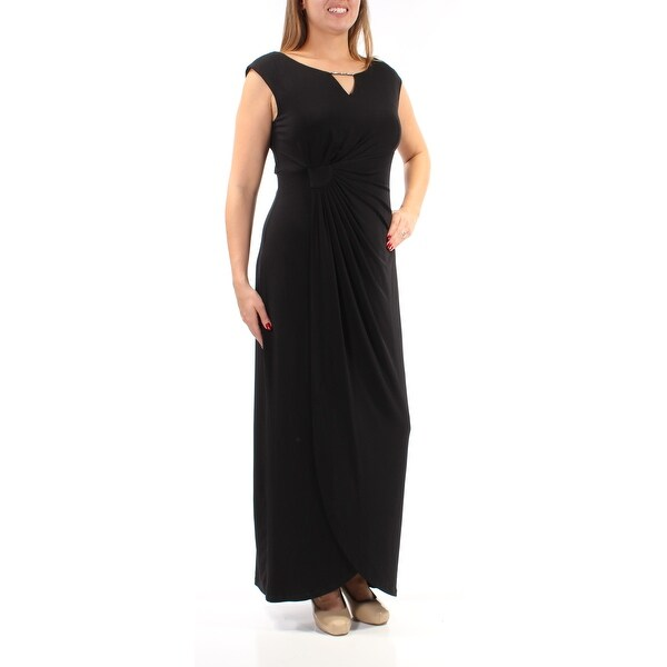 Shop Womens Black Cap Sleeve Maxi Tulip Evening Dress Size 12
