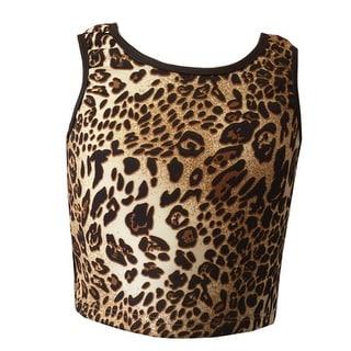 Girls Light Brown Leopard Print Short Waist Sleeveless Tank Top