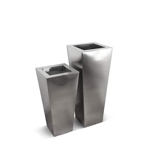 Satino Classic Short Tapered Satin Pot 2 Piece Set in Stainless Steel Finish - 2 Piece Set