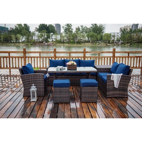 7-Piece Patio Wicker Sofa Set Outdoor Sectional Furniture by Moda Furnishings(Give away spare cushion cover-Grey)