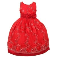 6574880d259d Little Girls Red Organza Embroidery Bow Sash Flower Girl Christmas Dress 2-6