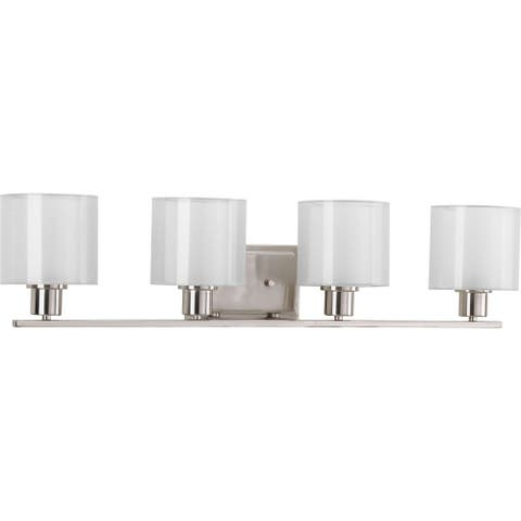 Invite Collection 4-light Brushed Nickel White Shade Bath Vanity Light
