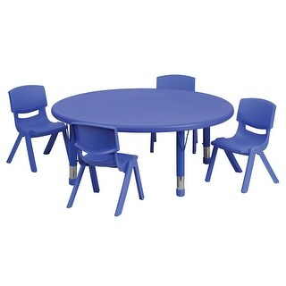 Offex 45'' Round Adjustable Blue Plastic Activity Table Set with 4 School Stack Chairs