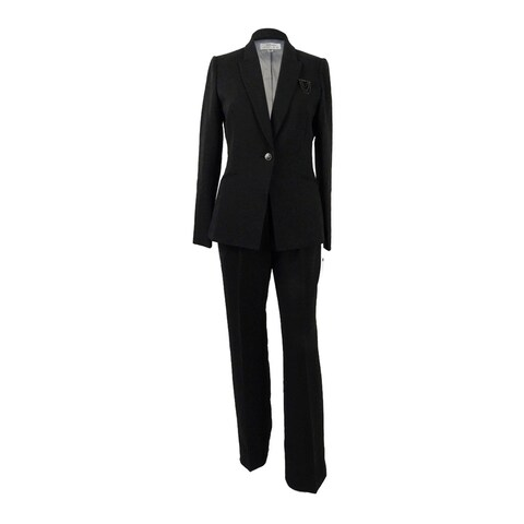 Tahari ASL Women's Embellished One-Button Pantsuit - Black