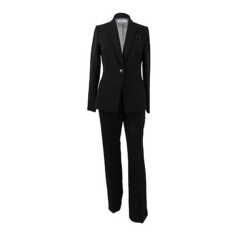 Tahari ASL Women's Plus Size Embellished One-Button Pantsuit - Black