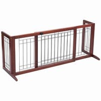 Gymax Solid Wood Dog Gate Pet Fence Playpen Safety Adjustable Panel Free Stand Indoor - cherry