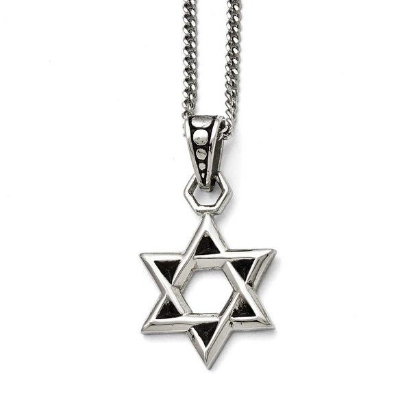 Chisel Stainless Steel Polished and Antiqued Star of David Necklace - 22 in
