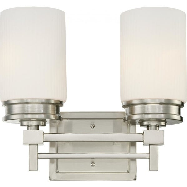 """Nuvo Lighting 60/4702 Wright 2-Light 13"""" Wide Bathroom Vanity Light with Ribbed Glass Shades - Brushed nickel"""