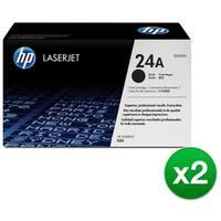 HP 24A Black Original LaserJet Toner Cartridge (Q2624A)(2-Pack)