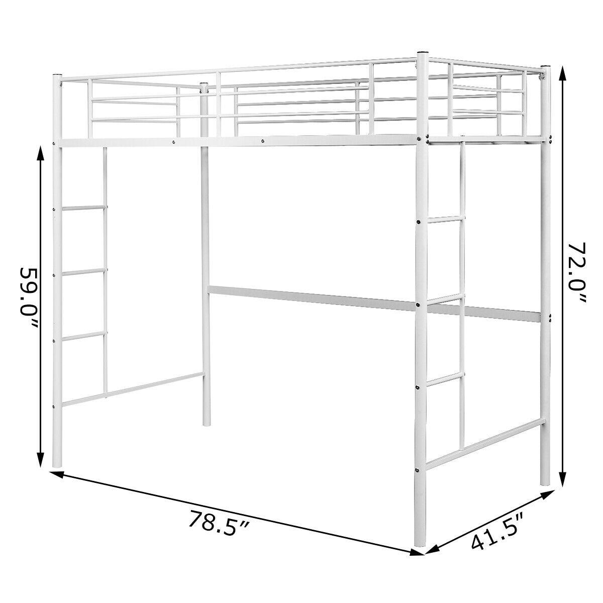 Gymax Twin Loft Bed Metal Bunk Ladder Beds Boys Girls Teens Kids On Sale Overstock 22833861