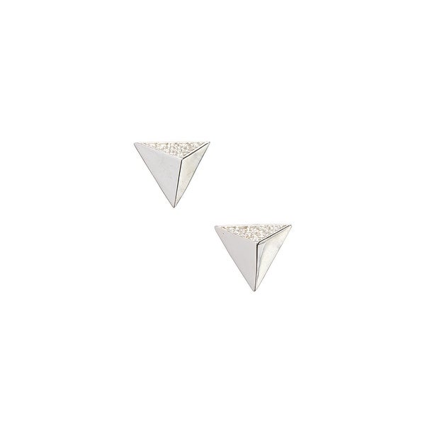 925 Sterling Silver Polished Triangle Stud with one Side of Cubic Zirconia