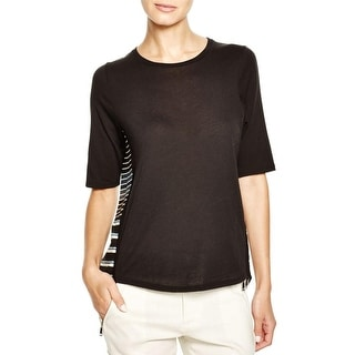 Vince Womens T-Shirt Melange Stripe Modal Blend