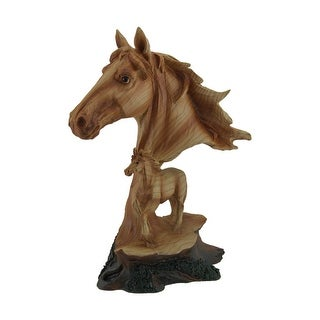 Faux Carved Wood Look Horse Head and Foal Statue - Brown