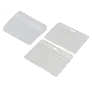 Office Business Plastic Horizontal ID Badge Name Tag Card Holder Clear 10pcs