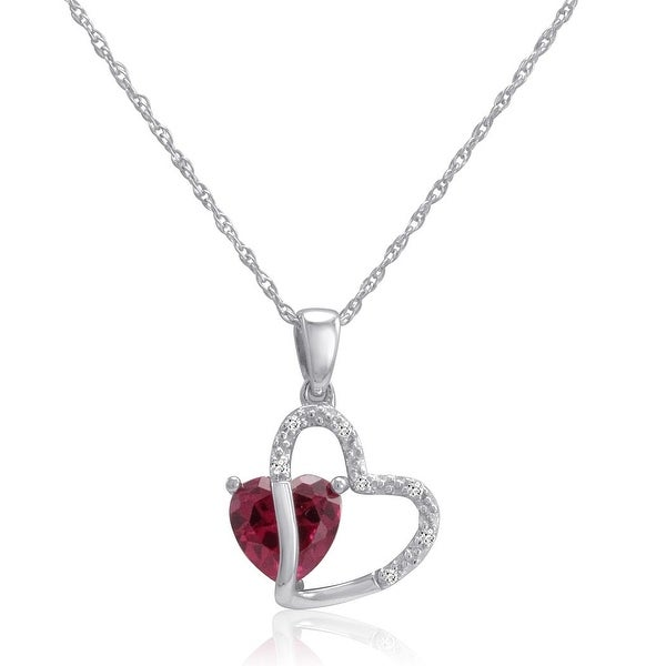 Amanda Rose Sterling Silver Created Ruby and Natural Diamond Heart Pendant-Necklace