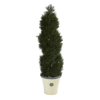 """Link to 52"""" Double Pond Cypress Spiral Topiary  Tree in Planter UV Resistant Similar Items in Decorative Accessories"""