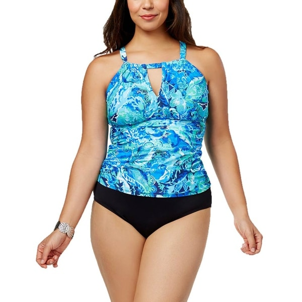 e4fcf5a44b5 Shop Ralph Lauren Women Plus Size Tummy Control High-Neck Tankini Top - Paisley  Exotic Blue - 16W - Free Shipping Today - Overstock - 28120480