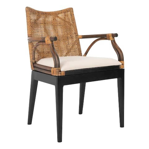 "SAFAVIEH Gianni Tropical Coastal Cushion Arm Chair - 21.5"" W x 23.5"" L x 32.3"" H"