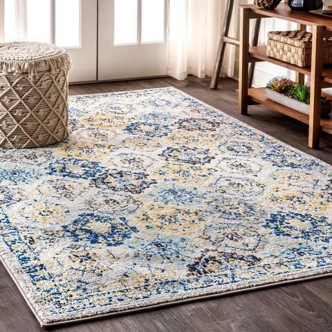 Modern Persian Boho Vintage Trellis Blue/Multi Area Rug