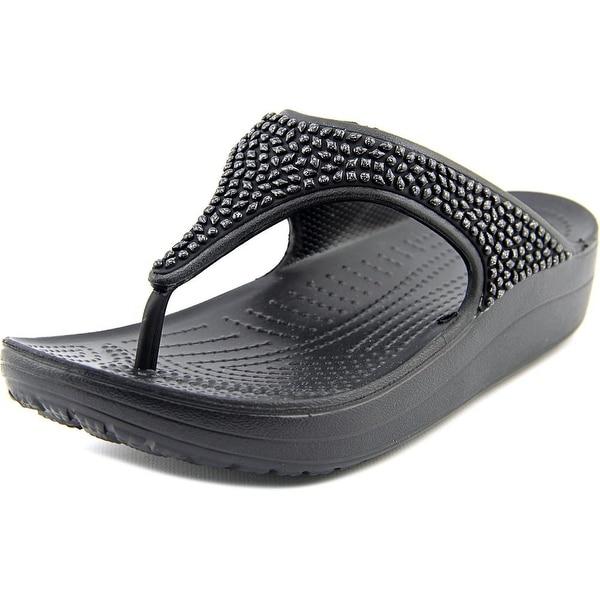 7432a9056ddc Crocs Sloane Embellished Flip Women Open Toe Synthetic Black Flip Flop  Sandal