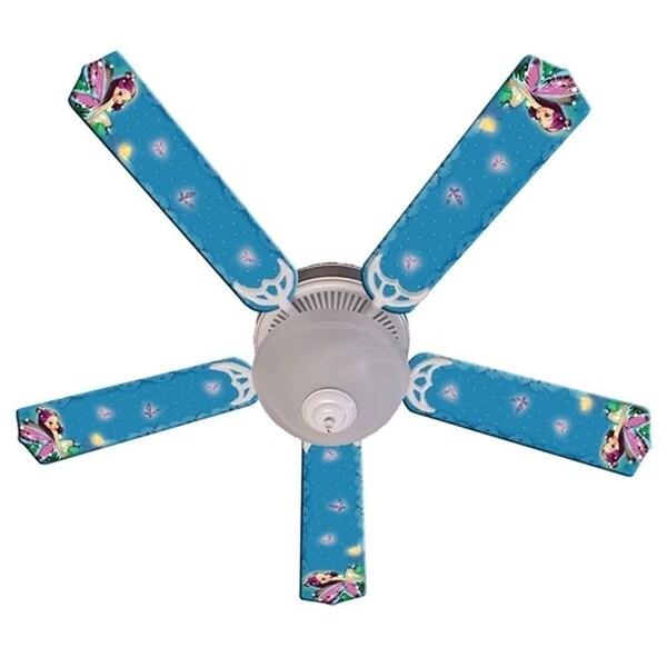 Purple Fairy Print Blades 52in Ceiling Fan Light Kit - Multi