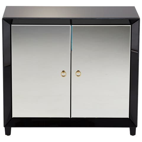 """Cyan Design Omar Cabinet Omar 35.75"""" Tall Wood and Mirrored Glass - Clear"""