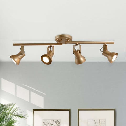 Split Rail 4-light Adjustable Gold Linear Ceiling Track Lights