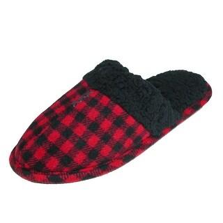 Dearfoams Men's Plaid Scuff Slippers