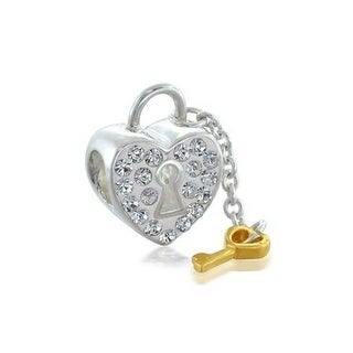 Bling Jewelry 925 Silver Heart Key Dangle Charm Bead Crystal