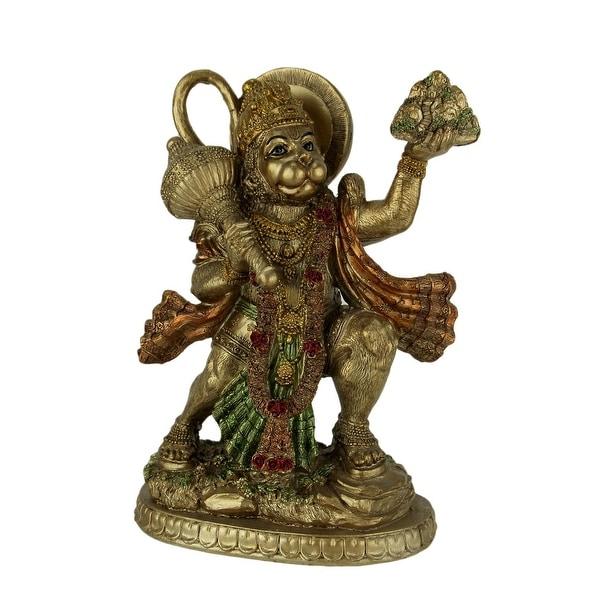 Gold Finish Flying Hanuman Carrying Herb Bearing Mountain Statue - 8.75 X 6.5 X 3.25 inches