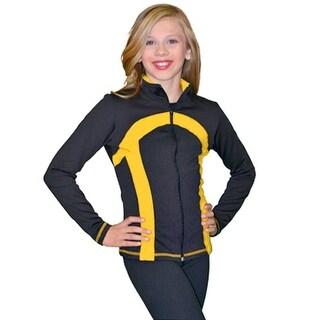 ChloeNoel Black Gold Thick Stripe Ice Skate Jacket Girl 4-Adult XL