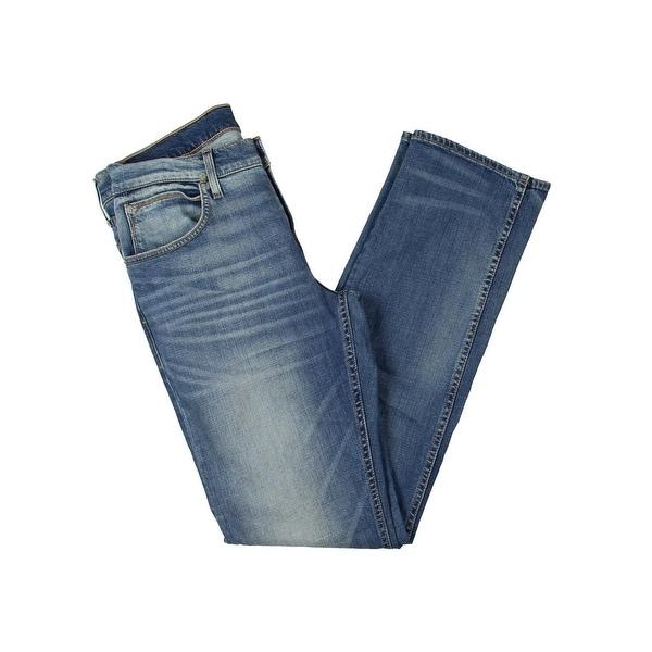 5ff7a1b947e Shop Hudson Mens Byron Straight Leg Jeans Distressed Medium Wash ...