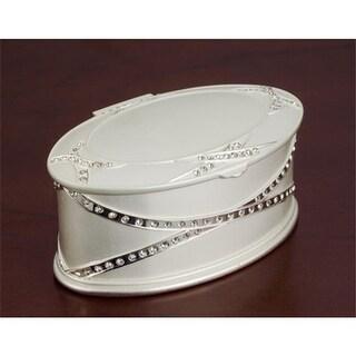 Godinger 8205 Oval Satin Jewelry Box with Stones