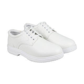 Deer Stags Service Mens White Leather Casual Dress Lace Up Oxfords Shoes