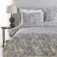 Battleship Grey and Cool Gray Elegant Blossom Dreams Linen Decorative Full/Queen Duvet