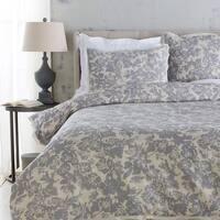 Battleship Grey and Cool Gray Elegant Blossom Dreams Linen Decorative King Duvet