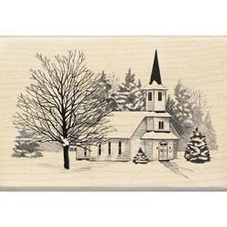 "Inkadinkado Christmas Mounted Rubber Stamp 4""X2.75""-Church In Snow"