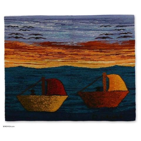 """Handmade Peruvian Coast Wool Tapestry (Peru) - 31.5"""" W x 25.5"""" H"""