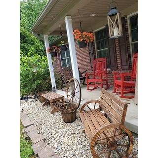 Outsunny Rustic  Outdoor Patio Wagon Wheel Wooden Bench Chair, for your Garden, Patio, or Entryway