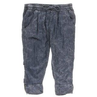 Rocks & Indigo Womens Plus Drawstring Stone Washed Capri Pants - 16W