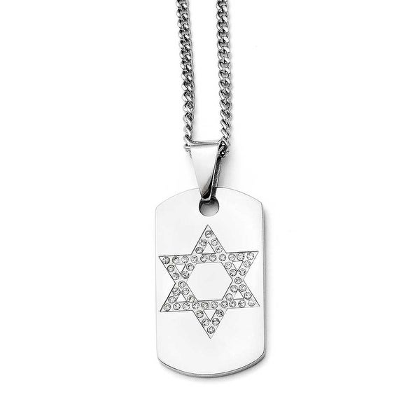 Chisel Stainless Steel Star of David CZ Dogtag Polished Necklace (2 mm) - 22 in