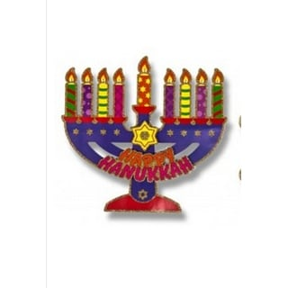 "15.5"" 3D Glitter Embellished Colorful ""Happy Hanukkah"" Holiday Cutout Decoration"
