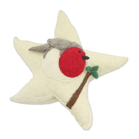 Wool felt tree topper, 'Robin Star'